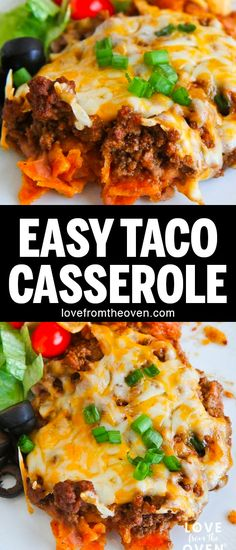 This recipe was SO good! Quick and easy Taco Casserole, quick to make, a great weeknight dinner. Easy Dinner Recipes, Easy Meals, Easy Recipes, Dinner Ideas, Dishes Recipes, Oven Recipes, Healthy Dinners, Copycat Recipes, Cooker Recipes