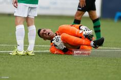 Javi Munoz of Europa FC reacts during the Champions League Qualifier between The New Saints and Europa FC on June 27, 2017 in Oswestry, England.