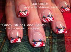 Nail-art by Robin Moses: nail art, christmas nail art, cute christmas nails, christmas nails, christmas lights, candy canes, evil snowmen, w...