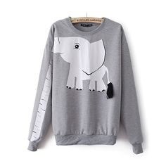 Elephant sweatshirt looks super comfy and cute. Sweater Shirt, Grey Sweater, Printed Sweatshirts, Hoodies, Elephant Print, Cartoon Elephant, Grey Elephant, Cool Shirts, Cool Outfits