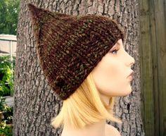 8b5b06e05e4 Knit Hat Womens Hat - Brown Gnome Hat Woodland Brown Knit Hat - Brown Hat  Brown Beanie Womens Accessories Winter Hat
