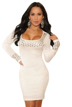 0890db5ad4f7 Plus Size White Pleated Studded Long Sleeves Dress