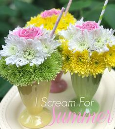 A Little Loveliness: Ice cream Sundae theme- Flowers for Teacher or ice cream social centerpiece.