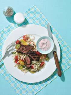 Grilled Lamb Loin with Tomato and Cucumber Raita and Israeli Couscous Photo - Grilled Lamb Recipe | Epicurious.com