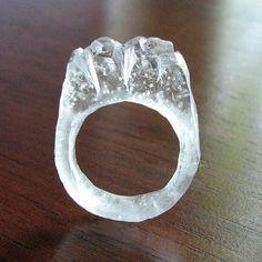 Carved Ice Resin Ring by deannaburasco on Etsy, $30.00