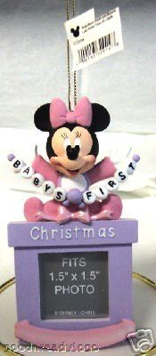 DISNEY MINNIE BABY GIRL FIRST CHRISTMAS PHOTO ORNAMENT FRONT