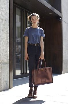 High Waist Denim Jeans, T-Shirt, Brown Booties & Tote Bag