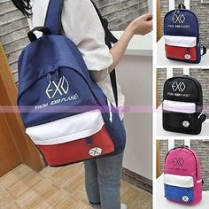 Korean Unisex EXO Canvas Womens Travel Shoulder Bag Schoolbag Backpack Rucksack Dara Kpop, Mochila Kpop, Exo Merch, Pop Collection, Rucksack Backpack, Suho, School Bags, Korean, Backpacks