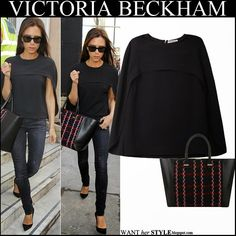 WHAT SHE WORE: Victoria Beckham in black cape top with black and red tote in London on September 14 ~ I want her style - What celebrities wore and where to buy it. Celebrity Style