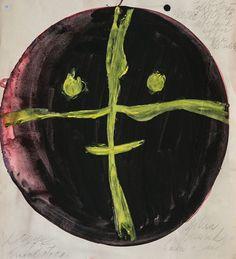 Lubomir Blecha, proposition for glass design of decorative disc, qouache on paper, D: 39,5 x 36,7 cm, 1957, UMPRUM Prague (glass object produced by Emanuel & Jan Beranek in glassworks Skrdlovice, for world exhibition EXPO'58 Brussels)