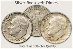 Silver Roosevelt Dimes in High Circulated Grades Close to Collector Quality Old Coins Worth Money, Old Money, Rare Coin Values, Silver Value, Penny Values, Old Coins Value, Rare Pennies, Valuable Coins, Silver Dimes