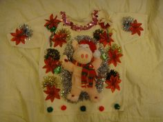 Tacky snowman Ugly Christmas sweater woman's xs s pink pig poinsetta party winner by keriblue4 on Etsy