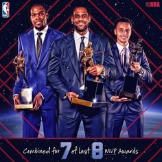 regram @nba  LeBron James (2009 2010 2012 2013) Kevin Durant (2014) and Stephen Curry (2015 2016) have combined to win 7 of the last 8 MVP awards! #NBAFinals http://ift.tt/2re0yY3