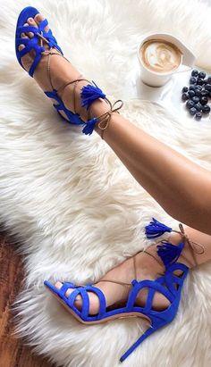 Cobalt Blue Suede Cutout Heeled Sandals