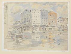 Mills and Footbridge, Meaux by John Marin, watercolor