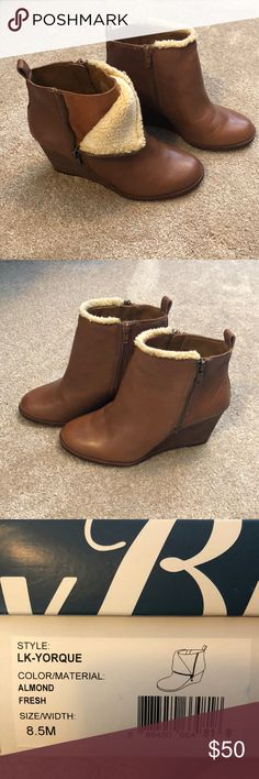 LUCKY BRAND Almond leather bootie. Versatile bootie!  Two looks.  Full zip or half zip with fur trim. Lucky Brand Shoes Ankle Boots & Booties