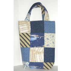 Musical Angel Knitter's Patchwork Tote (175 CNY) ❤ liked on Polyvore featuring patchwork