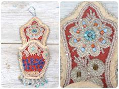 Antique Iroquois beadwork beaded vide poche Souvenir of Niagara falls