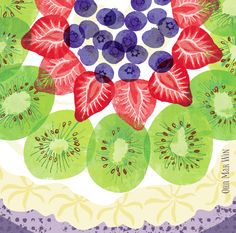 Illustrated recipe for meringue based dessert topped with kiwi, strawberries and blueberries and lashings of whipped cream OHN MAR WIN