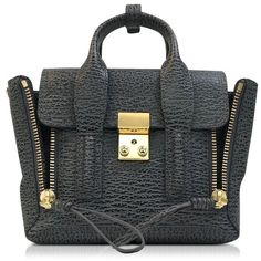 3.1 Phillip Lim Handbags Pashli Ash and Charcoal Leather Mini Satchel ($790) ❤ liked on Polyvore featuring bags, handbags, leather purses, leather hand bags, satchel handbags, leather pouch and handbags purses