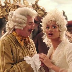 Meanwhile, Plumette let out a shout. Everyone turned toward the staircase. At the top, as if on cue, stood the Prince (Beauty and the Beast, Elizabeth Rudnick) #beautyandthebeast #labellaylabestia #lumiere #plumette #ewanmcgregor #gugumbatharaw #disney