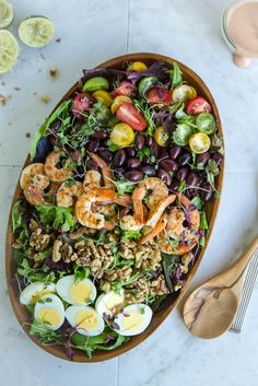 Grilled Prawns & Walnut Salad -- love the sectioned presentation!