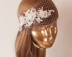 White Lace BIRDCAGE VEIL Vintage Style by IvevDecorAccessories
