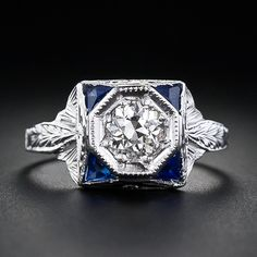 .55 Carat Diamond and Synthetic Sapphire Ring