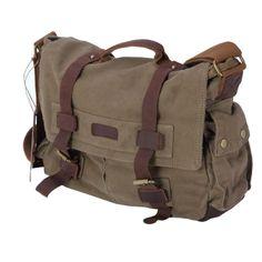 Canvas+Leather Shoulder Bag Green