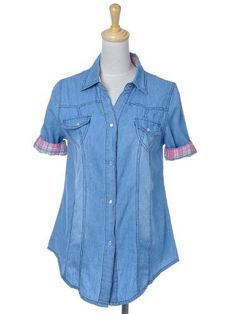 Anna-Kaci S/M Fit Blue Denim S/S Button Down Chambray Shirt with Plaid Lining Anna-Kaci. $15.00. Save 40% Off!