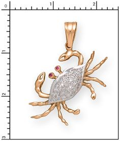 Nautical Jewelry - 14Kt 3-D, Large, Diamond Crab with Ruby Eyes, D=.60, Crabs & Lobsters, 1-P7038D