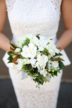 Gardenias are an elegant, classic option for summer wedding flowers. They're super fragrant and recall romantic, Southern summers. Gardenia Wedding Bouquets, Gardenia Bouquet, Diy Wedding Flowers, Wedding Flower Arrangements, Bride Bouquets, Floral Wedding, Southern Wedding Flowers, Boho Wedding, Wedding Ideas