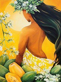 Hawaiian art wahine with papayas