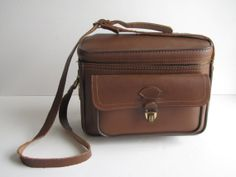 Vintage Brown Leather Squarish Camera Case / Bag / Purse with strap on Etsy, $34.99