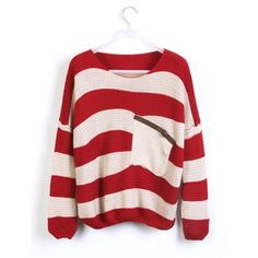 Red Stripes Loose Sweater with Pocket ($30) found on Polyvore