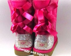 UGG Bailey Bow Hot Pink Ugg Boots with Swarovski Crystal Embellishment - Bling Uggs with Bows and Crystals in Cerise Pink