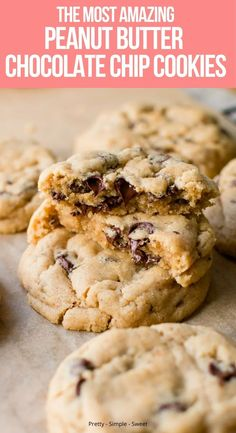 Chicolate Chip Cookies, Peanut Butter Chip Cookies, Chewy Chocolate Chip Cookies, Peanut Butter Recipes, Best Peanut Butter, Desserts With Peanut Butter, Recipes With Chocolate Chips, Almond Butter Cookies, Delicious Desserts