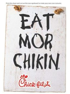 Printable sign for cow costumes for Chick-fil-A Cow Appreciation Day