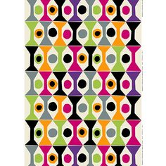 A clever balance of busy and simple elements, Jenni Tuominen's new design emits an elevating energy.  Marimekko Cocktail Ecru/Multi Fabric Repeat - $51
