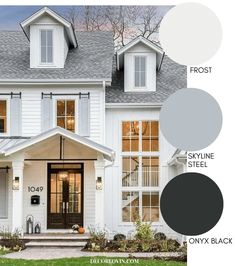 Fantastic Cost-Free Modern Farmhouse Style Exterior Paint Colors Ideas To construct a traditional-looking state house, you can refer to the next additional characteristic Design Exterior traditional paint colors White Farmhouse Exterior, White Exterior Paint, White Exterior Houses, Exterior Paint Colors For House, Outside House Paint Colors, Exterior Paint Color Combinations, House Paint Color Combination, Exterior Paint Schemes, Exterior Gris