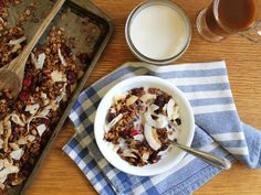 Try this tart, coconutty homemade granola for a not-too-sweet alternative to store bought cereal. Plant Based Recipes, Granola, Tart, Coconut, Pudding, Homemade, Sweet, Desserts, Food