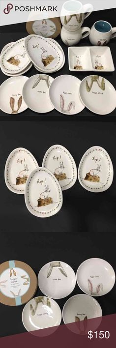 """12 Rae Dunn Easter Set All new, never used Rae Dunn Easter set. 12 pieces  - Four oval egg shaped plates - Four 6"""" plates  - Three mugs - One Hip Hop tray  Please know that Rae Dunn collections are made imperfect with flaws. Added shipping cost is included in price. Rae Dunn Other"""