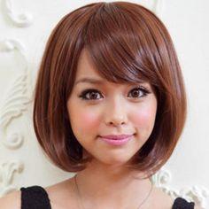 Short Full Wig - Straight  Light Auburn - One Size