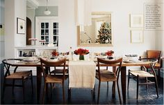 Love the mix of old and new, and the open kitchen pass-through to dining area, old wood contrasted with white paint.