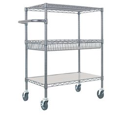 Alera 3-Tier Wire Rolling Cart Black Anthracite - from Costco