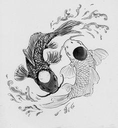 Ying and Yang koi fish tattoo