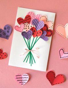 Activité Saint-Valentin et bricolage facile - Maman Locaaa Happy Birthday Text, Birthday Cards For Brother, Simple Birthday Cards, Homemade Birthday Cards, Funny Birthday Cards, Birthday Greeting Cards, Homemade Cards, Sunflower Cards, Birthday Balloons