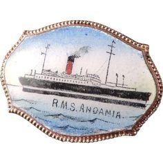 Enamel Souvenir Pin R. M. S. Andania