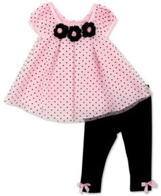Rare Editions 2-Pc. Dot-Print Tunic & Leggings Set, Baby Girls'  $24.99 A floaty dot-print tunic lends eye-catching sweetness to this Rare Editions two-piece set for baby girl, which also includes a pair of matching pull-on leggings with delicate bow details.