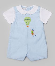 Blue Plaid Balloon Romper - Infant